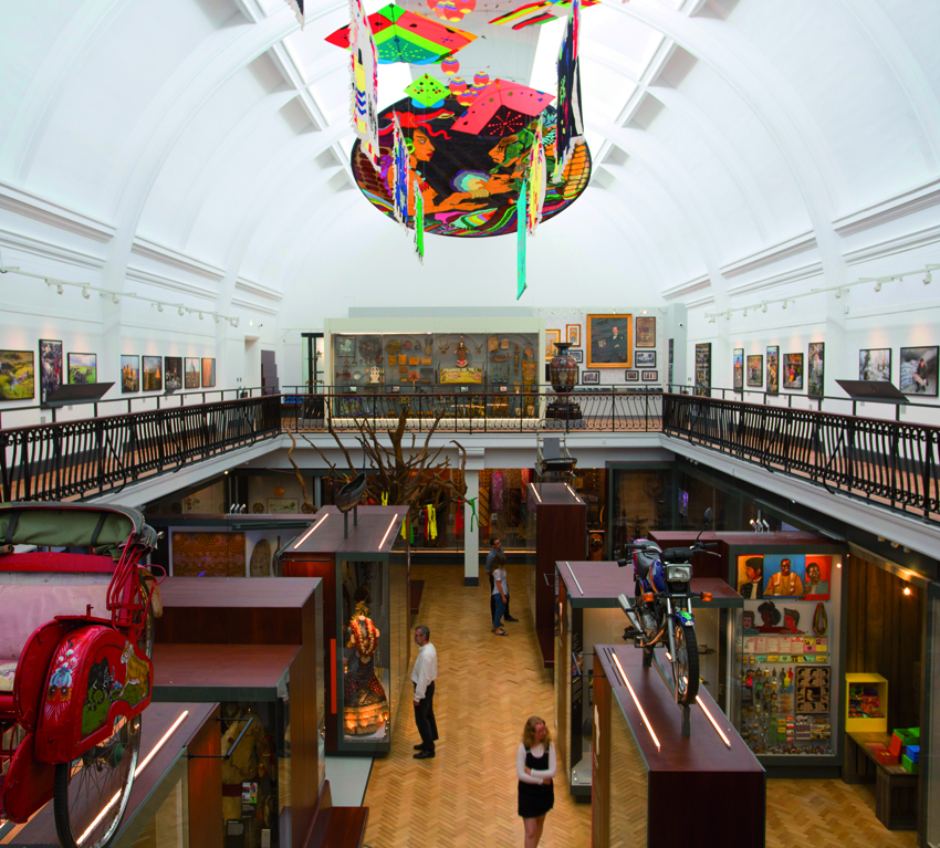 Photograph of the World Gallery at the Horniman Museum and Garden in London. It holds over 3000 objects from around the world exploring the question of what it means to be human.