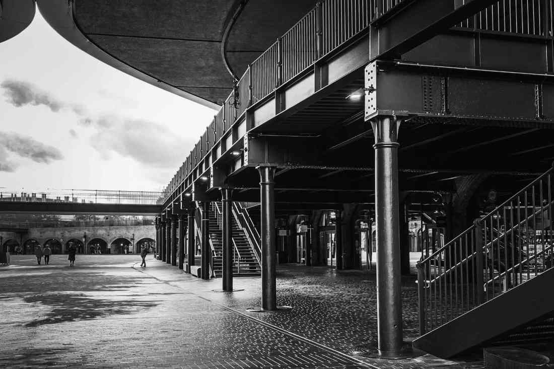 A view of the original steel structures that Thomas Heatherwick has included in the redevelopment of the Coal Drops Yard.